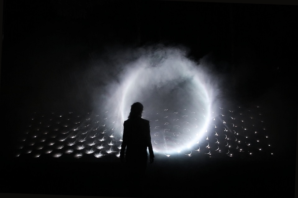 seeing through the smoke and mirrors light barrier installation captivates with rippling auroral display art - Captivating Light Installation Artists
